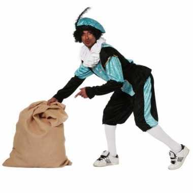 Carnavalspak Blauwe zwarte pietenpak budget