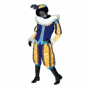 Luxe roetveeg pietenpak geel/blauw dames heren