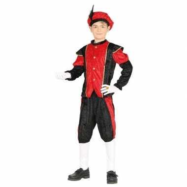 Pieten verkleed pak zwart/rood jongens/meisjes