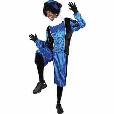 Roetveeg pietenpak blauw/zwart volwassenen