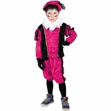 Roetveeg pietenpak roze/zwart kinderen