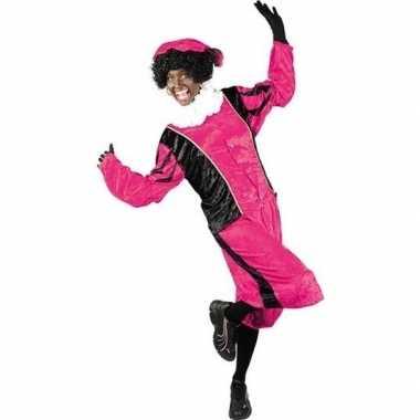 Roetveeg pietenpak roze/zwart volwassenen