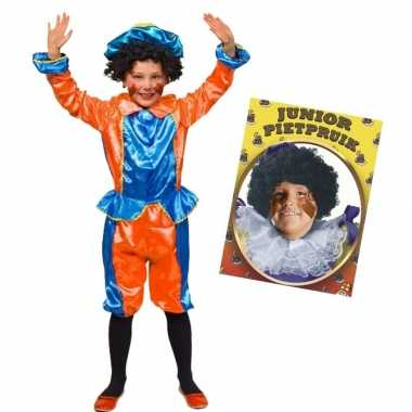Set blauw oranje kids jr pietenpak pruik