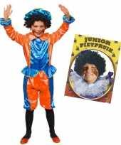 Set blauw oranje kids jr pietenpak pruik 10173362